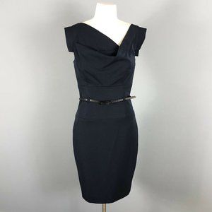 Black Halo Jackie O Navy Blue Sheath Dress